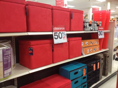 Storage Ottomans In A Bright Red ...