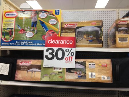 The tents and canopies went to 70% off today (signs only say 30%). I also found the following : target tents - memphite.com