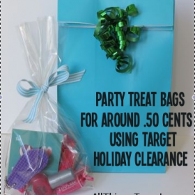 Make Inexpensive Party Treat Bags using Target Holiday Clearance