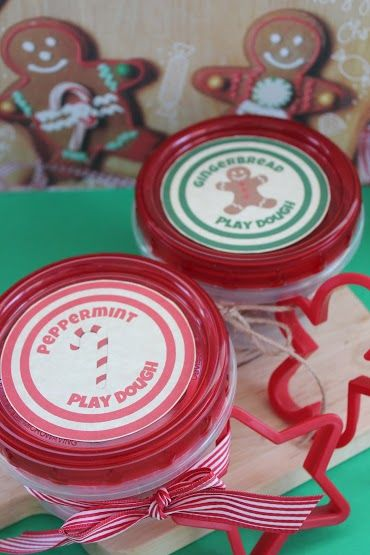 Homemade Peppermint and Gingerbread Play Dough.  FREE printable too!