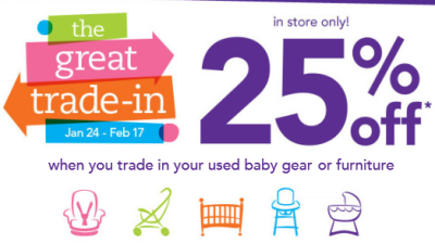 Babies R Us Is Hosting A Great Trade In Event Now Through 2 17 Your Old Baby Gear Or Furniture And Youll Get Coupon For 25 Off New Item