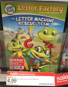 super deal on the leapfrog letter factory adventures dvd at target pick up the letter machine rescue team dvd for only 299 this would be a great item to
