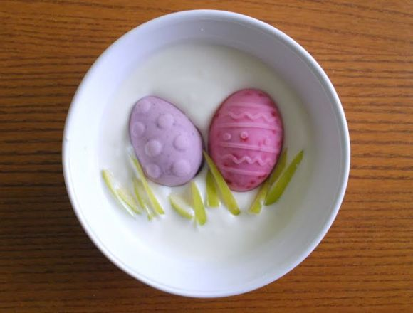 Easter food art with Yogurt & Fruit