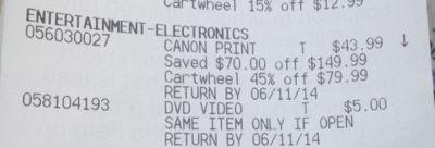 Canon printer receipt