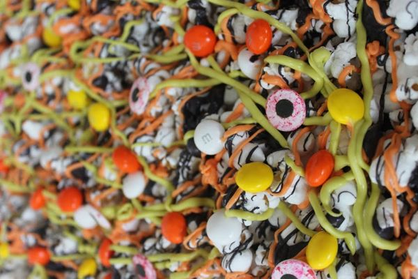 Halloween Popcorn with m&ms and eyes