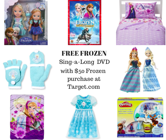 Free Frozen sing along dvd with purchase