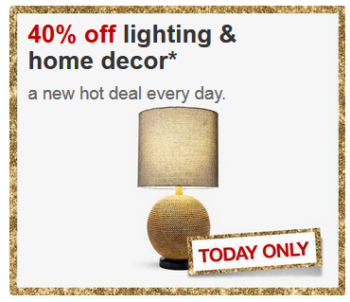 Today only, you can save 40% on home lighting & decor items at Target ...