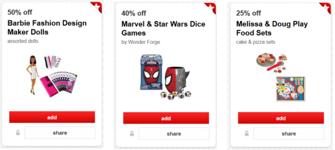 target cartwheel offer toys games