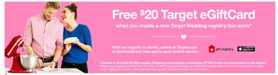 Create a Target Wedding Registry get a USD20 Target eGift Card (1st ...
