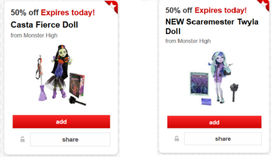 target cartwheel monster high doll collage