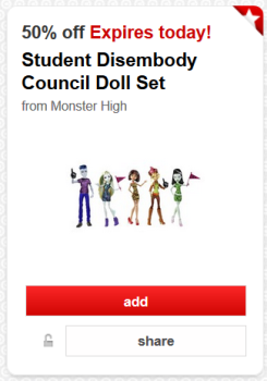 Target Cartwheel offer monster high