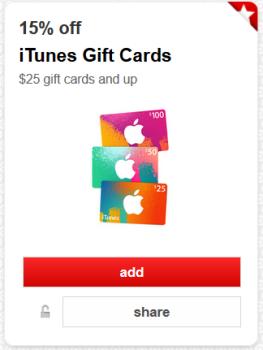 target cartwheel itunes gift card