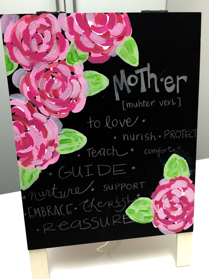 Painted floral chalkboard - Mother's Day