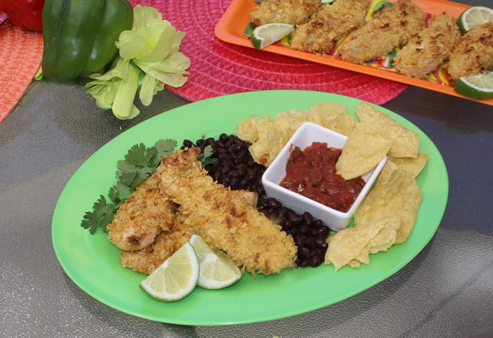 Chipotle-Lime Crusted Chicken Tenders with Beans