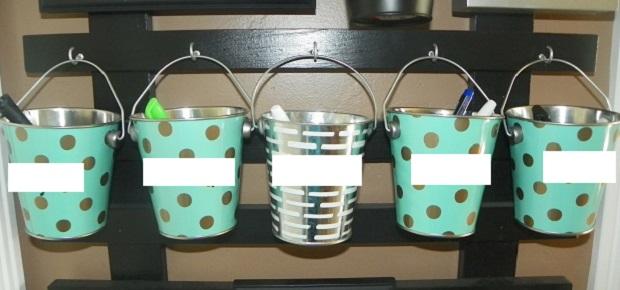chore buckets closeup