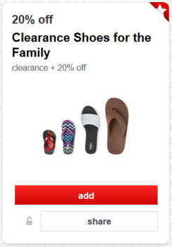target cartwheel extra 20 off shoes pic