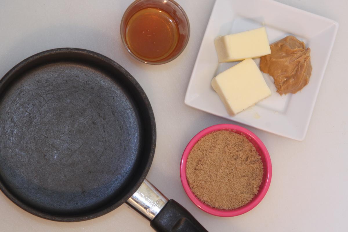 Cook brown sugar, honey, peanut putter