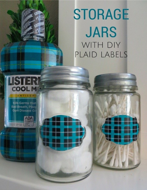 Storage Jars with DIY Plaid Labels (from Target Dollar Spot)