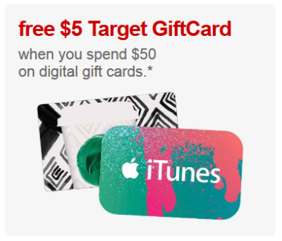 5 gift card with 50 digital gift card purchase all things target. Black Bedroom Furniture Sets. Home Design Ideas