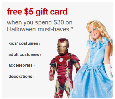 Target Mobile Coupon $5 Gift Card with $30 Halloween Shop Purchase ...