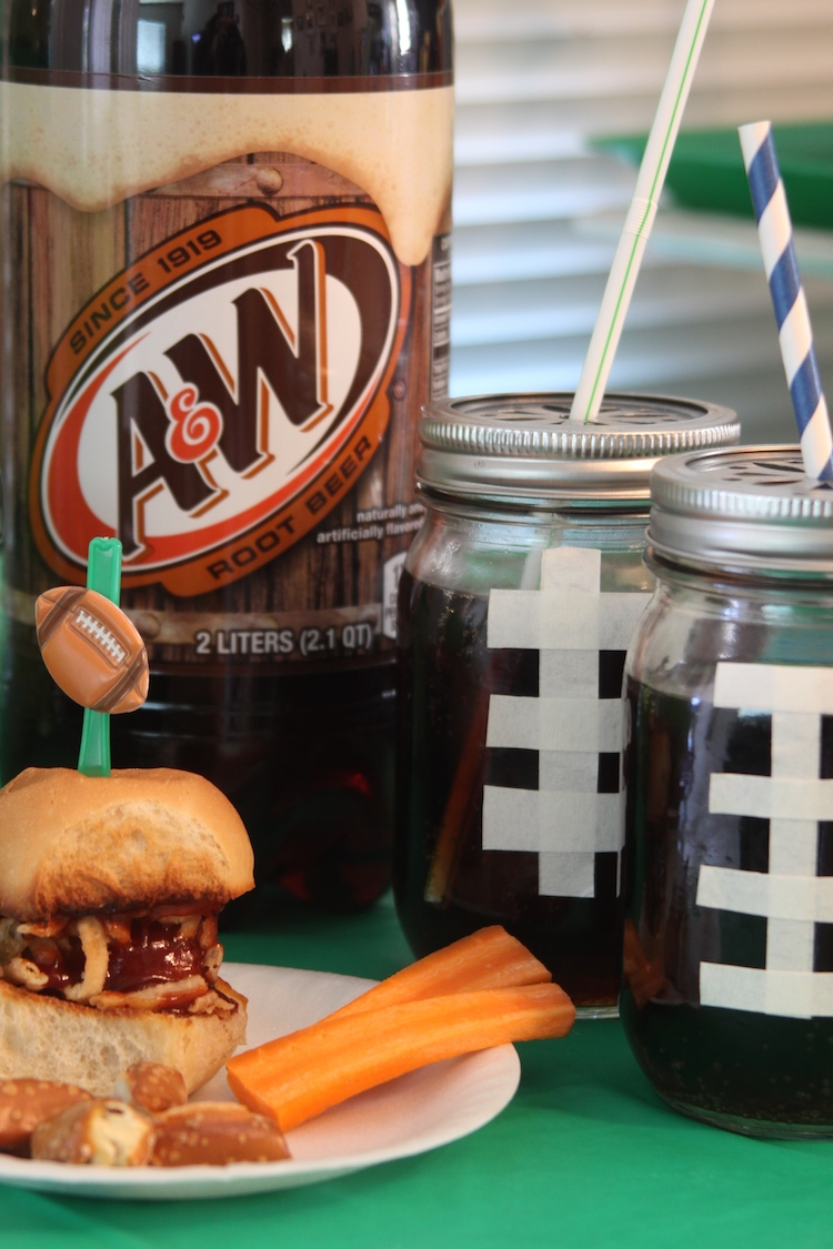 Football party ideas with Tyson Any'tizers, 7up and A&W Root Beer