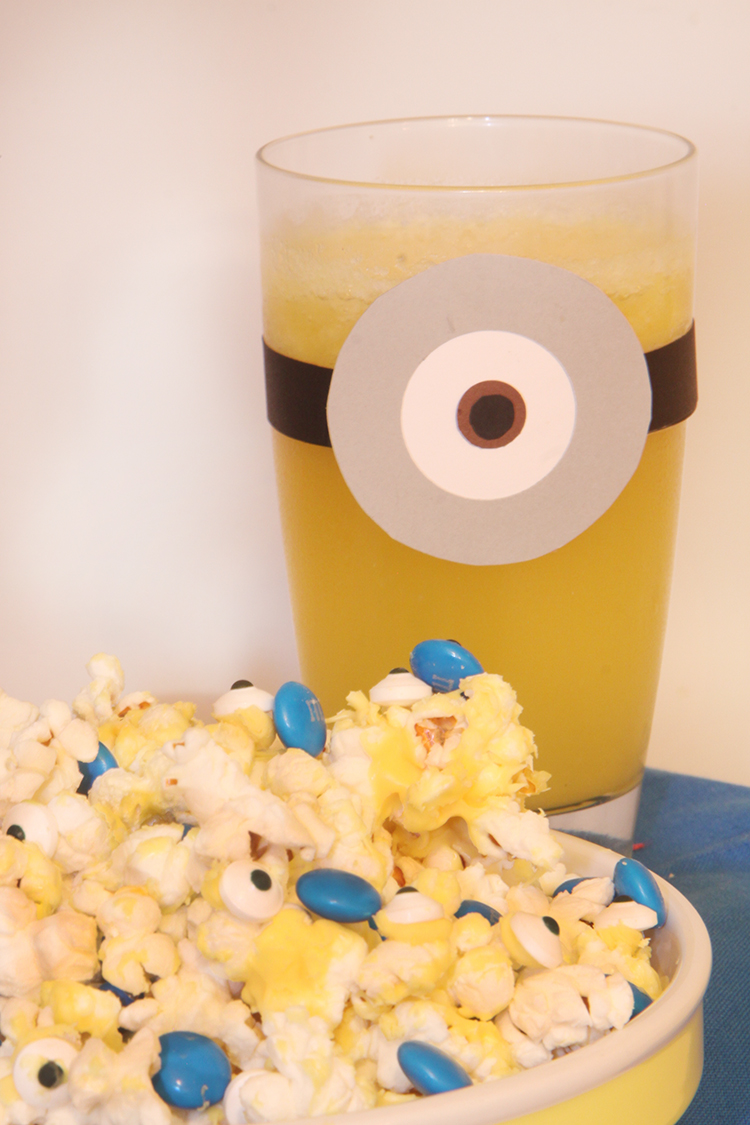 Minions goggles on drinking glass
