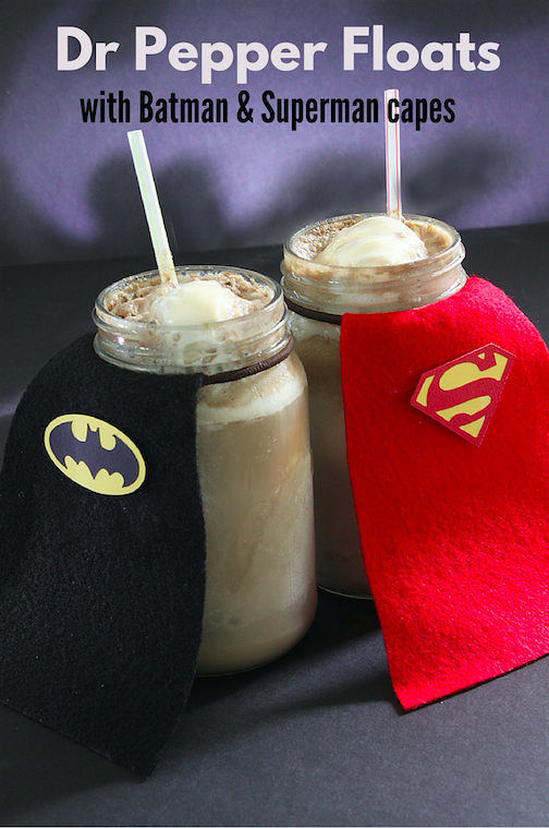 Dr Pepper Floats with Batman and Superman Capes