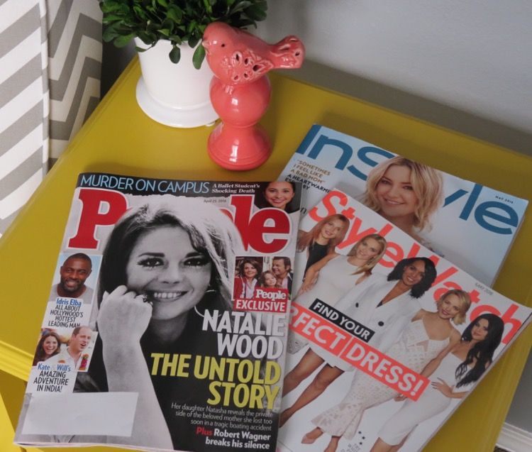 People StyleWatch and InStyle magazines for me time