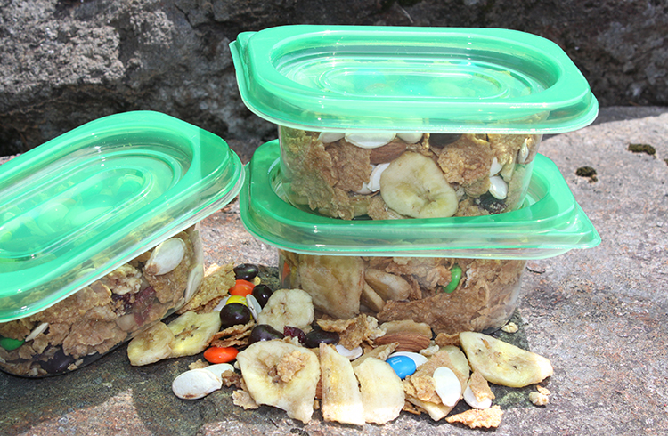 Great Grains Trail Mix stored in containers for hikes