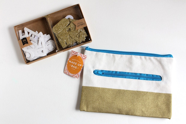DIY stenciled pencil pouch with supplies from the Target dollar spot