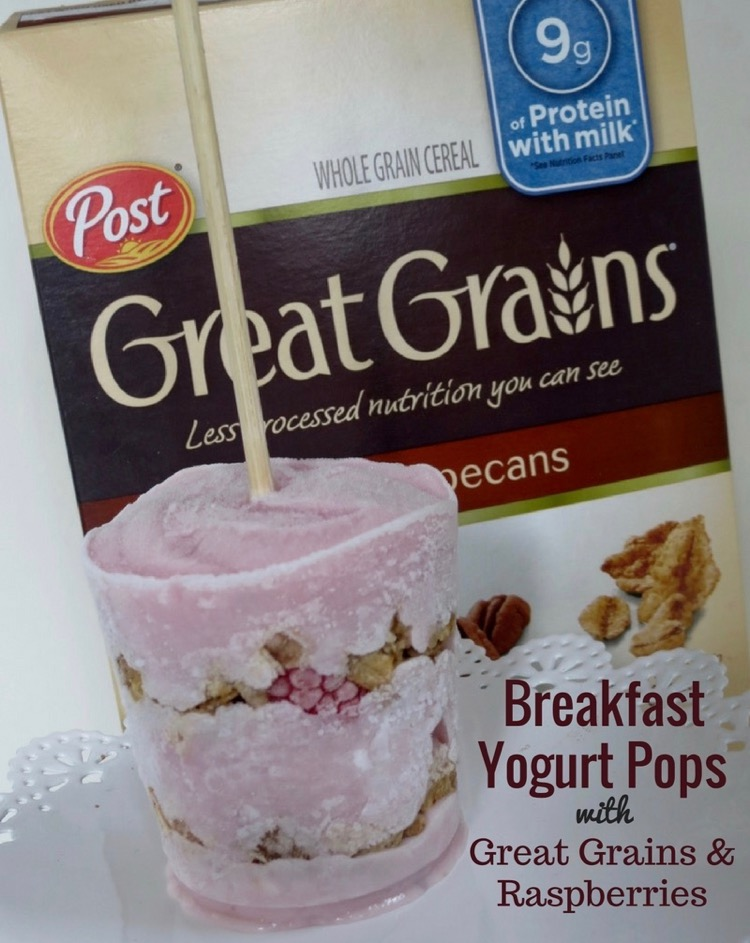 Breakfast Yogurt Pops with Great Grains and Raspberries