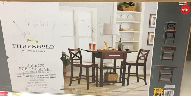 Cool Threshold 3 Piece Pub Table Set Dark Tobacco Finish Gallery ...