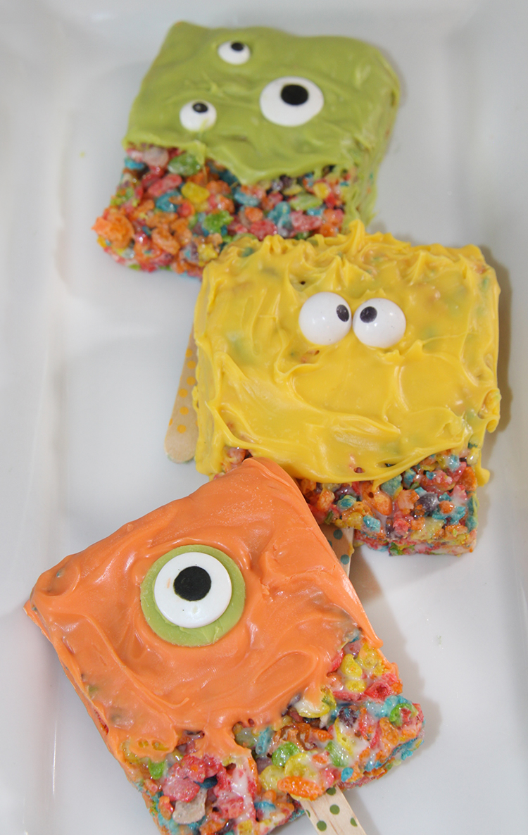 Fruity Pebbles Marshmallow Monster Pops