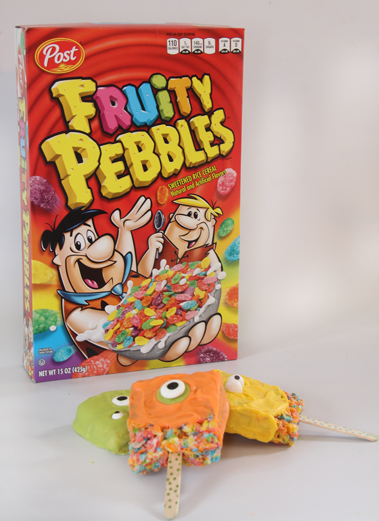Monster Pops with Fruity Pebbles