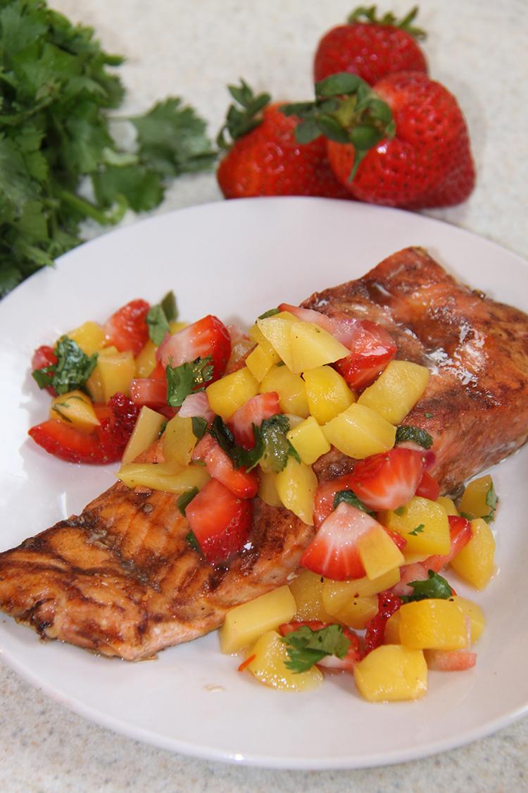 Balsamic Salmon with Strawberry Mango Salsa
