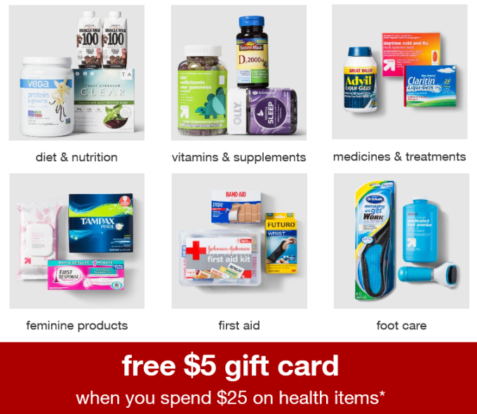 Target $5 Gift Card With $25 Health Care Purchase