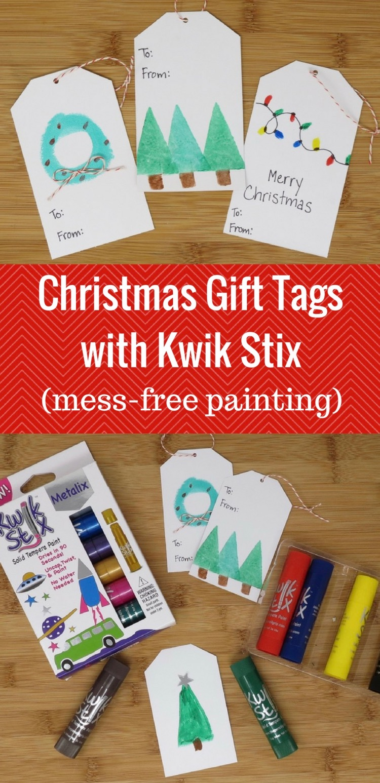 Christmas Gift Tags with Kwik Stix (mess-free painting)