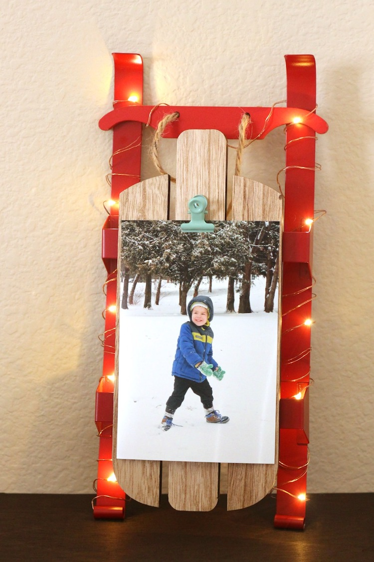 DIY Wood Sled Photo Display