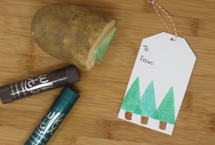 Potato stamping with Kwik Stix
