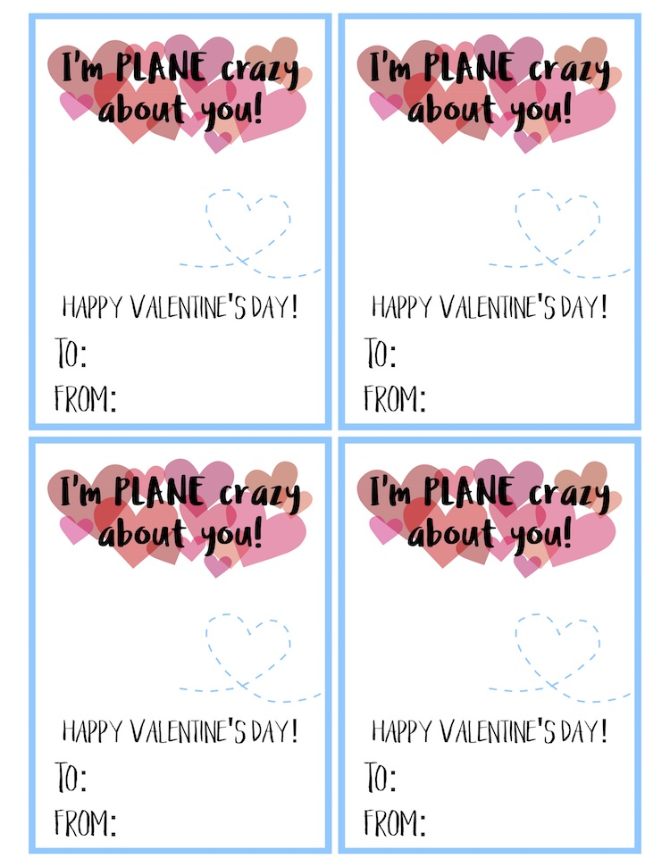 Free Printable Airplane Eraser Valentine's Day Cards