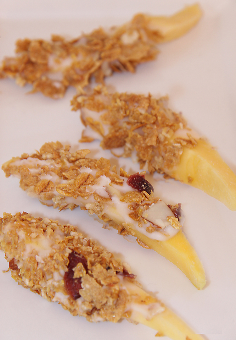 Frozen Mango Parfait Slices using Post Great Grains Cereal