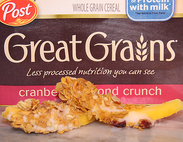Frozen Mango Parfait Slices with Post Great Grains Cereal