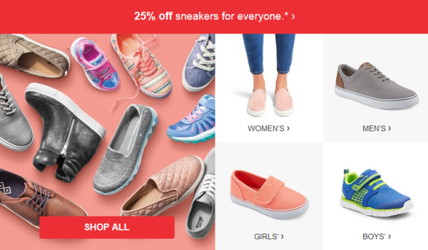 f5f1ee7ef This week both in-store and online at Target.com you can save 25% off  sneakers for the entire family. There is no code needed