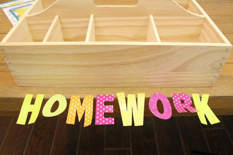 DIY Wood Homework Caddy