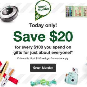 Target Green Monday: Save $20 for Every $100 You Spend (12/11 only)
