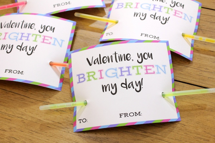 Candid image within glow stick valentines printable