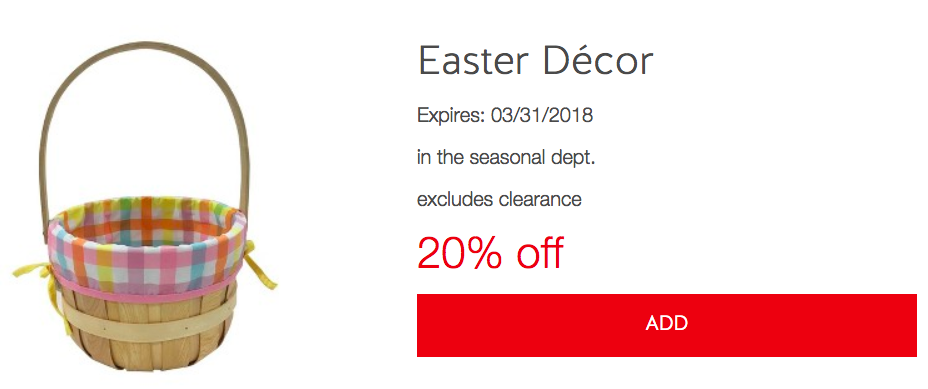 Target easter decor cartwheel all things target there is a new cartwheel offer for 20 off easter decor which is valid through 331 combine this offer with the 5 gift card with 25 easter shop purchase negle Choice Image