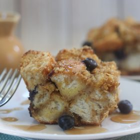 Blueberry French Toast Casserole with Honey Bunches of Oats