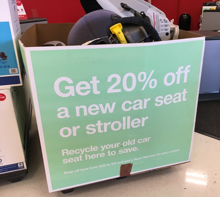 The Awesome Target Car Seat Trade In Event Is Going On Now Through May 5th Guests Who Bring Their Old To Guest Services Will Receive A 20 Off
