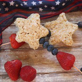 Patriotic Rice Krispies Kabobs